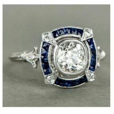 Engagement Rings Responsible Certified 2ct Art Deco Princess Diamond Engagement Ring Stamped 14k White Gold Jewelry & Watches