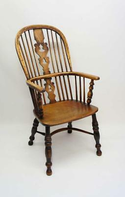 Victorian high back Windsor armchair in Ash  and Elm