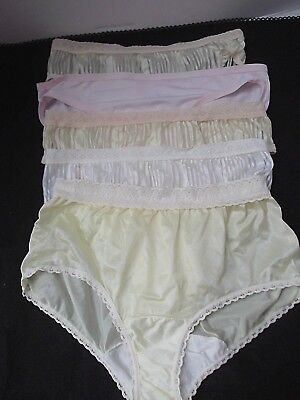 vtg lot 5 panties cheeky bikini brief nylon lingerie Small lace pink wht beige