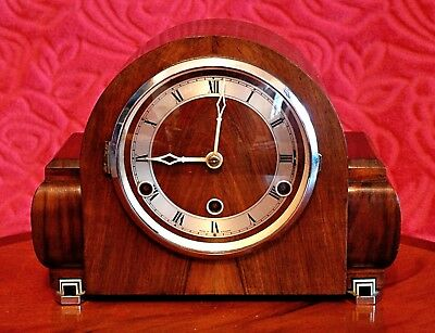 Vintage Art Deco British 14-Day Walnut Case Mantel Clock with Westminster Chimes