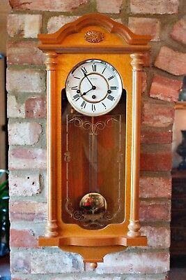 Vintage English 'Wm Widdop' Oak Case 8-Day Wall Clock with Westminster Chimes