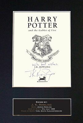J.K. Rowling - Harry Potter - Signed / Autographed Book Cover + FREE SHIPPING