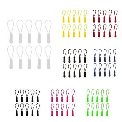 10 PCS Plastic Zipper Pull Replacement Cord Rope Zip Puller For Clothes Bags