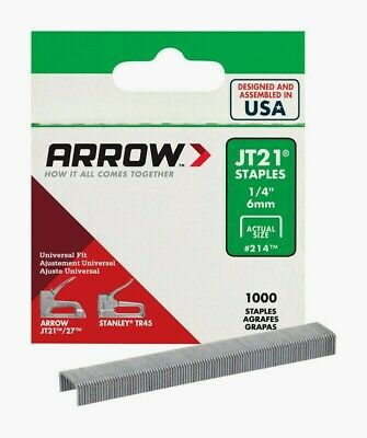 "New!! Box of 1000 # 214 Arrow 7/16"" W 1/4"" L Wide Crown Light Duty Staples JT21"