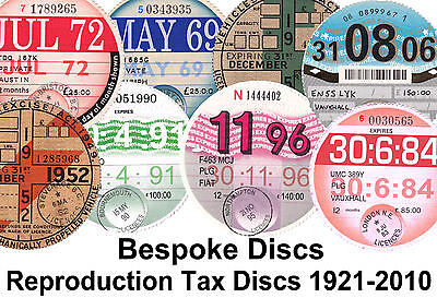 Replica / Reproduction Vintage Road Tax Disc - Rover MG Triumph Vauxhall Bespoke
