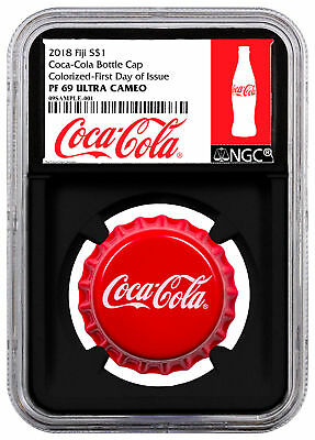 2018 Fiji Coca-Cola Bottle Cap-Shaped 6 g Silver $1 NGC PF69 UC FDI Blk SKU54447