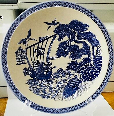 "Vintage Japanese Blue On White 10"" Dinner Plate * Sailboat, Cranes & Turtles"