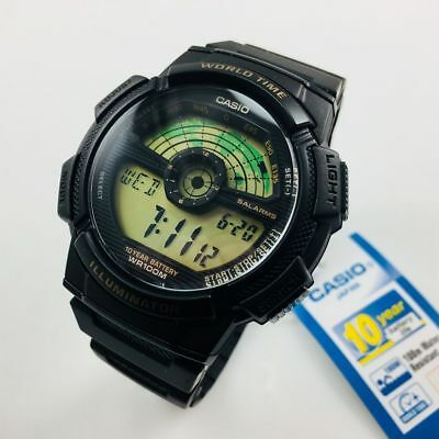 Men's Casio Digital World Time Black Band Resin Sport Watch AE1100W-1BV