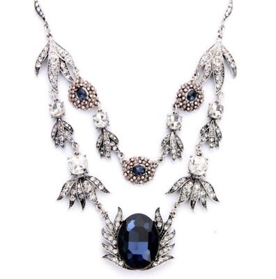 SAPPHIRE BLUE CRYSTAL RHINESTONE PEARL Victorian Art Deco Layer Floral Necklace