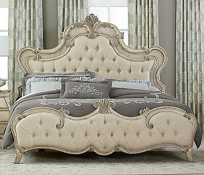 French Style Antique Grayish White King Bed Bedroom Furniture