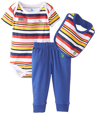 NEW US Polo Assn Baby Boys Navy Red Striped Pony Denim Jean 2-Pc Set 6-9 Months