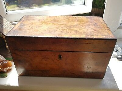 A George Iii Walnut Tea Caddy Excellent Inlay Original Must See