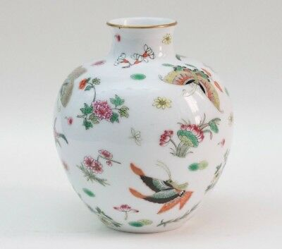 Vintage Old Chinese Porcelain Vase Hand Painted Flowers And
