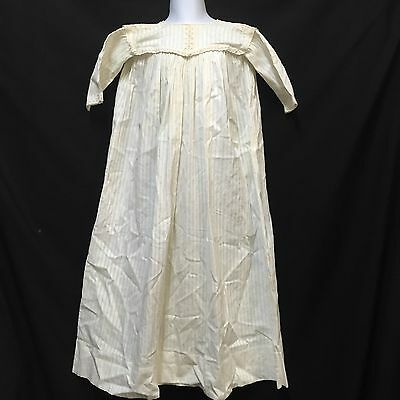 """Victorian Christening Gown Baby Dress Lace Trim Off-White 33.5"""" Long 3 Buttons"""