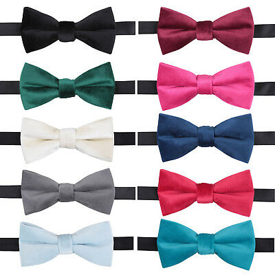 DQT Premium Plain Velvet Formal Wedding Adjustable Pre-Tied Men's Bow Tie