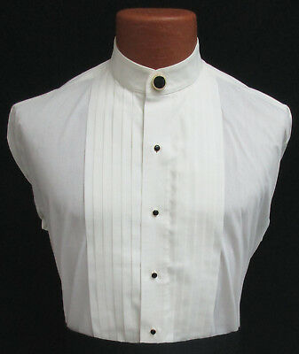 Ivory Banded Nehru Mandarin Collar Pleated Front Tuxedo Shirt with Button Cover
