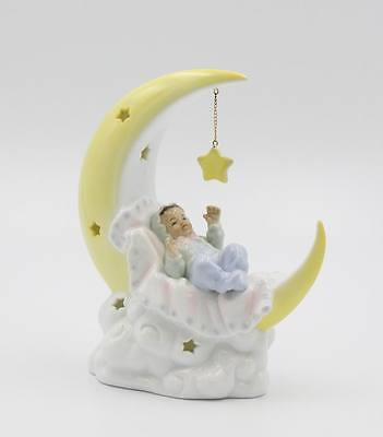 96569 - Cosmos Fine Porcelain African American Baby On The Moon Night Light