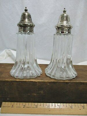 LARGE Antique Cut Crystal Salt & Pepper Shakers with Sterling Silver Top Vintage
