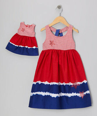 """Dollie Me Girl's Dress Set Red Blue Patriotic July 4th 18"""" American Doll Sz 4"""