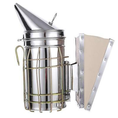 Stainless Steel Manual Bee Hive Smoker Transmitter Apiculture Beekeeping Tool