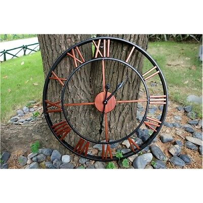 LARGE OUTDOOR GARDEN WALL CLOCK BIG ROMAN NUMERALS GIANT OPEN FACE METAL 45cm