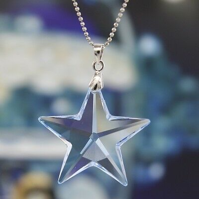 925 Sterling Silver Made with Swarovski Elements Star Pendant Ornament Necklace