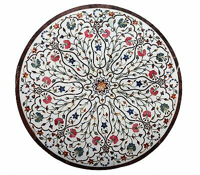 Vintage Beautiful Marble Table Top With Agate Flower Motif Lapis Inlay India