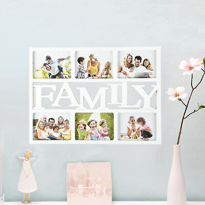 """White Family 6 Multi Picture Aperture Photo Frame Holds 6""""X 4"""" Photos Home Decor"""