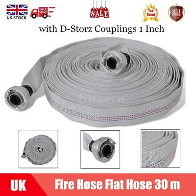 30 M Fire Hose Flat Hose Lay Flat Water Pump With D-Storz Couplings 1 Inch Q9I6