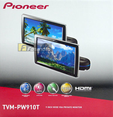 """Pioneer TVM-PW910T 9"""" HD Headrest Monitor HDMI (NTSC only) and RCA Input 1 Pair"""
