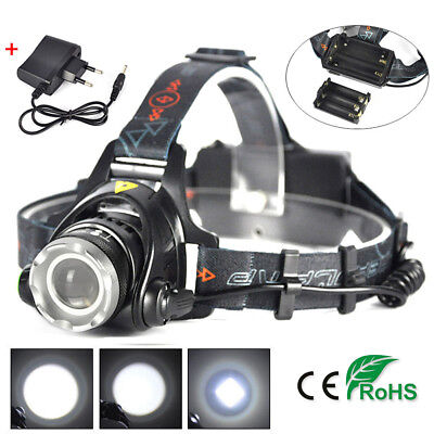 2018 35000LM Zoomable LED Headlamp Rechargeable Headlight XML T6 Head Torch Hot