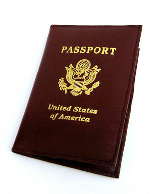 BROWN GENUINE LEATHER USA PASSPORT COVER Travel ID Card Holder Wallet