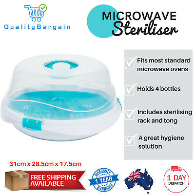 Microwave Steriliser Baby 4 Bottles Steam Sterilizer Travel Compact w/ Rack Tong
