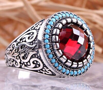 Ruby & Turquoise Stone 925 Sterling Silver Turkish Handmade Red Mens Ring US