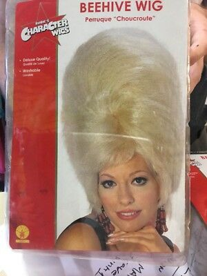 Large Blonde Bee Hive Wig Drag Queen Wig Adult Costume Fancy Dress Cosplay Stag