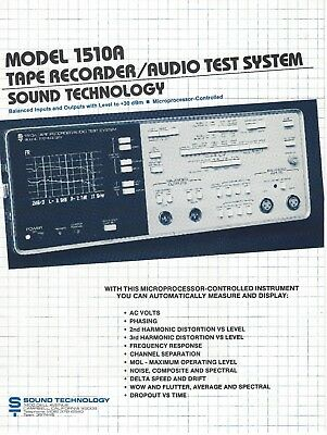 Sound Technology Model 1510A Tape Recorder Audio Test System -Brochure -Original