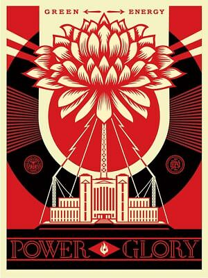 Shepard Fairey - Green power original offsets - hand signed