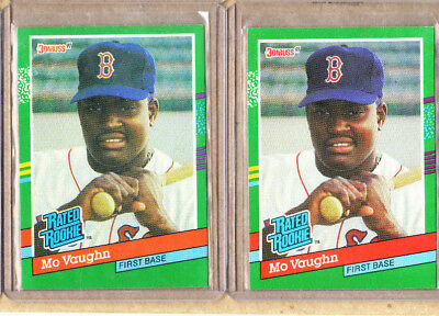 Mo Vaughn 2 Card Rookie Lot 2 1991 Donruss Rated Rookie Red Sox Near Mint