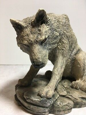 Crouching Wolf Wildlife Statue Collectible Home Decor Gift