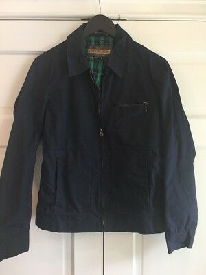 SCHOTT Perfecto Brand Waxed Cotton Jacket Trench Navy Men's Sz XS/ S Made in USA