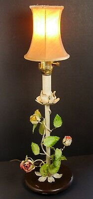 Vintage Toleware Painted Metal Table Lamp Rose Bud Flower Hollywood Regency