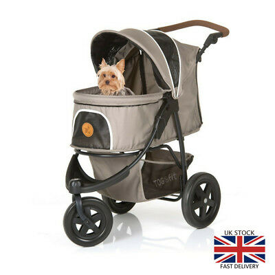 Luxury Pet Stroller Pushchair Taupe Grey Dog Cat Tear Resistant Nets Outdoor New