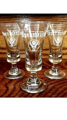 3 Jagermeister Shot Glasses Cordial Footed Logo Barware Mint