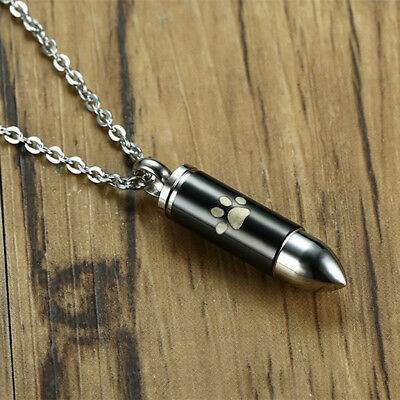 Pet Paw Bullet Urn Cremation Pendant Necklace Ash Holder Keepsake Jewelry