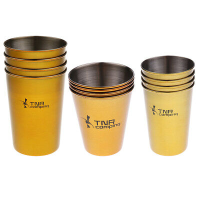 4PCS Stainless Steel Cups Mug With PU Cover Case Coffee Tea Beer Camping J5F4