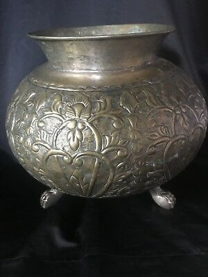Antique Handmade Large Brass Paw Footed Planter Heart Scroll Floral Design