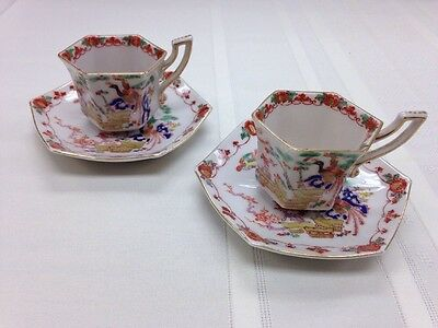 Kosen Kutani 6-sided Pair Demitasse Cup & Saucer (2) Hand Painted Japan Peacock
