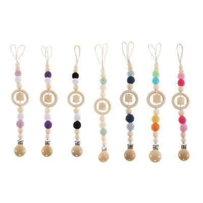 Natural Wooden Beaded Pacifier Holder Clip Baby Nipple Teether Dummy Strap Chain