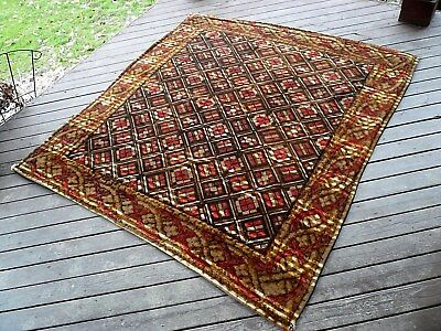 """Large Antique 'Stroock' Sleigh Blanket For Two. Wool.  67"""" x 62"""""""