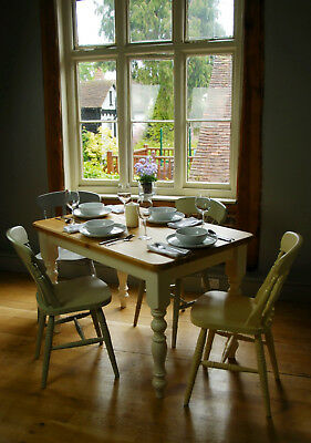 Kitchen Dining Table - Victorian Pine Farmhouse Style Antique Painted